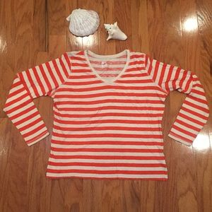 JCP XL Orange & Cream Stripe T shirt Women